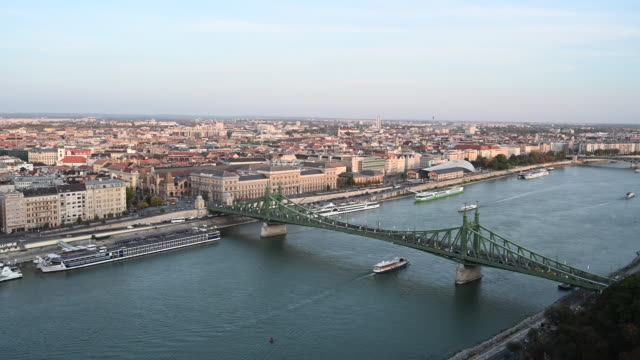 a general view of the liberty bridge and the river danube on october 20 2019 in budapest hungary - liberty bridge budapest stock videos & royalty-free footage