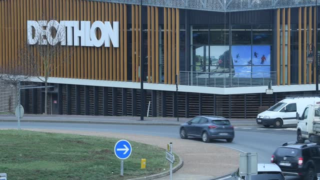 general view of the logo of decathlon department store on february 16, 2021 in chambourcy, france. . - road junction stock videos & royalty-free footage