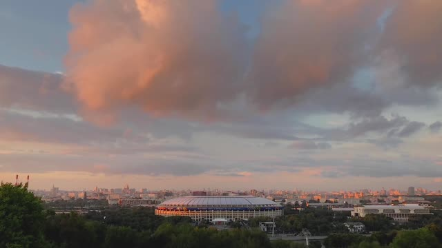 a general view of the luzhniki stadium ahead of the russia 2018 fifa world cup semifinal match between england and croatia on july 9 2018 in moscow... - cloud sky stock videos & royalty-free footage