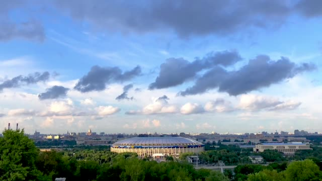 vídeos de stock, filmes e b-roll de general view of the luzhniki stadium ahead of the russia 2018 fifa world cup semi-final match between england and croatia on july 9, 2018 in moscow,... - russia