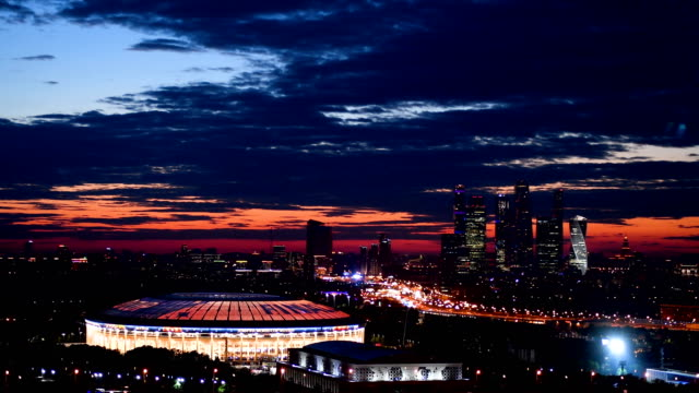 A general view of the Luzhniki Stadium venue for the 2018 FIFA World Cup Final between France and Croatia on July 13 2018 in Moscow Russia