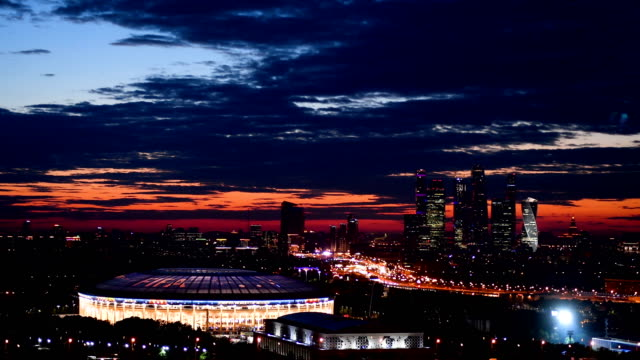 vídeos de stock, filmes e b-roll de general view of the luzhniki stadium, venue for the 2018 fifa world cup final between france and croatia on july 13, 2018 in moscow, russia. - russia