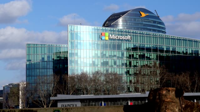 vídeos de stock e filmes b-roll de general view of the microsoft france building on march 10 2019 in issylesmoulineaux near paris france - vista geral