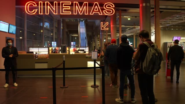 general view of the mk2 bibliotheque, where customers are queuing, on october 21st at mk2 bibliotheque on october 21, 2020 in paris, france. cinema... - film industry stock videos & royalty-free footage