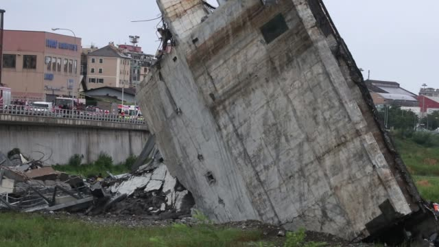 a general view of the morandi bridge which collapsed on august 14 2018 in genoa italy at at least 30 people have died when a large section of morandi... - bridge built structure stock videos & royalty-free footage