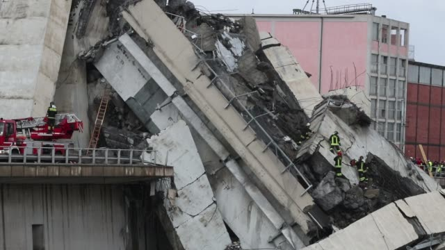 A general view of the Morandi bridge which collapsed on August 14 2018 in Genoa Italy At at least 30 people have died when a large section of Morandi...