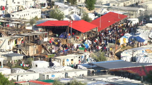 a general view of the moria migrant camp which was built for 3000 people but now contains over 13000 on october 09 2019 in mytilene greece... - flüchtlingslager stock-videos und b-roll-filmmaterial