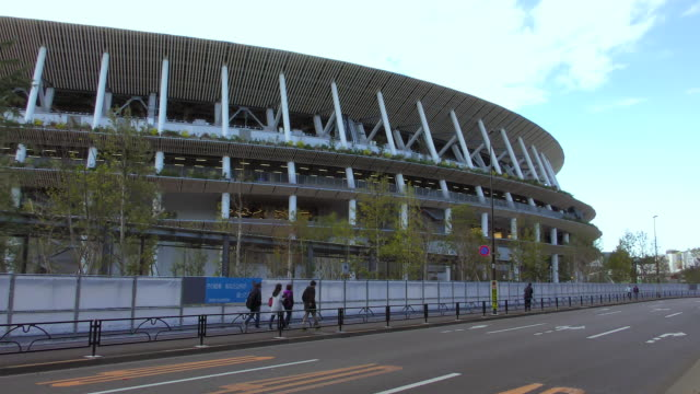 a general view of the new national stadium which construction works has finished according to the japan sport council on november 20 tokyo japan... - sport venue stock videos & royalty-free footage