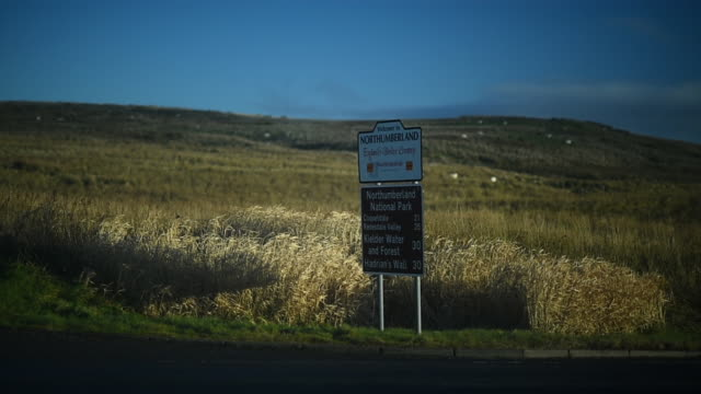 general view of the northumberland road sign on the a68 on november 23 2016 in jedburgh, scotland. - ジェドバラ点の映像素材/bロール