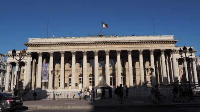 """general view of the palais brongniart, formerly """"palais de la bourse"""", on may 18, 2020 in paris, france. the coronavirus pandemic has spread to many... - le bourse quarter stock videos & royalty-free footage"""