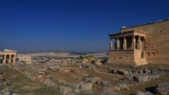 general view of the porch of the caryatids at the acropolis on august 23, 2020 in athens. during the coronavirus pandemic, greece is restricting... - caryatid stock videos & royalty-free footage
