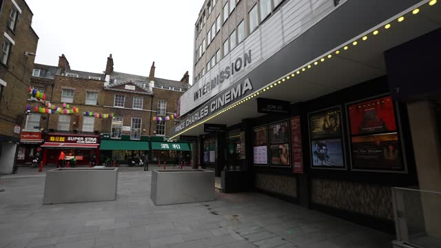 general view of the prince charles cinema in soho during lockdown 2.0 on november 16, 2020 in london, england. england returns to lockdown before the... - ウェストエンド点の映像素材/bロール