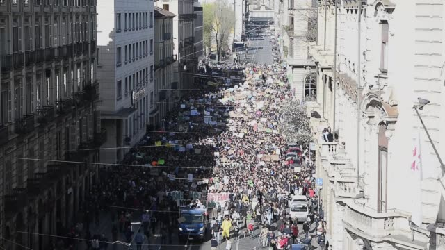 general view of the protesters during the demonstration for global warming on march 15,2019 in turin, italy. the 'global strike for future' comes... - young men stock videos & royalty-free footage