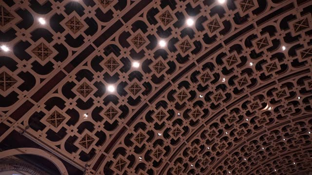 general view of the rebuilt ceiling of the grand hall at battersea arts centre on march 10, 2021 in london, england. the site opened today for... - ceiling stock videos & royalty-free footage