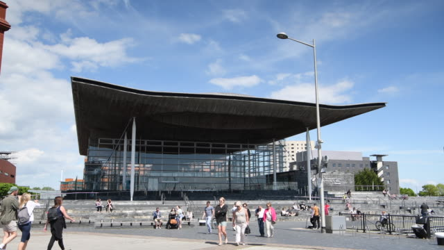 A general view of the Senedd home of the Welsh National Assembly at Cardiff Bay Wales UK on a warm summer day
