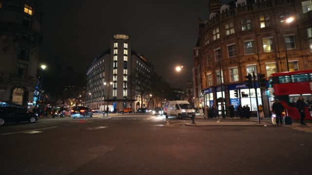 """general view of """"the strand"""" road at night, on january 14, 2020 in london, england. - crossroad stock videos & royalty-free footage"""