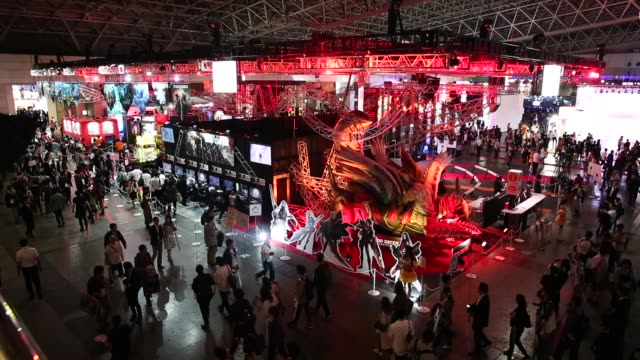 stockvideo's en b-roll-footage met general view of the tokyo game show 2018 on september 21, 2018 in chiba, japan. - television game show