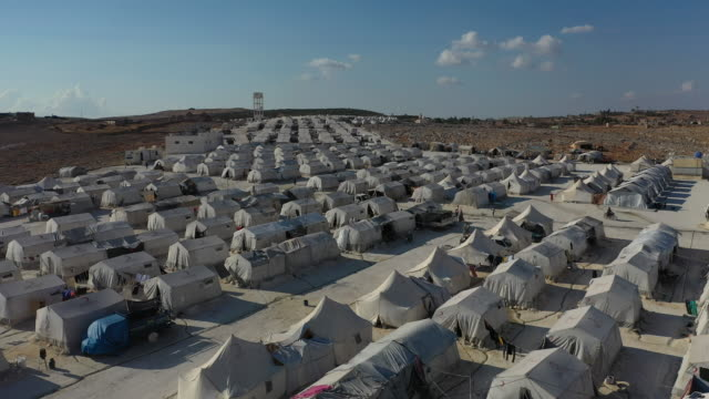 a general view of the turkish red crescents camp near the village of atmeh that hosts nearly 1 million displaced syrians near the syrianturkish... - syria stock videos & royalty-free footage