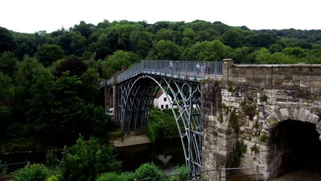 general view of the unesco world heritage site of ironbridge on june 21 ironbridge, england. the world's first cast iron bridge was built over the... - ironbridge shropshire stock videos & royalty-free footage