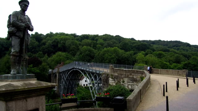 a general view of the unesco world heritage site of ironbridge on june 21 ironbridge england the world's first cast iron bridge was built over the... - river severn stock videos & royalty-free footage