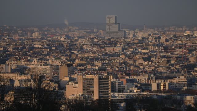 general view of the urban sprawl, in the background the justice court skyscraper by architect 'renzo piano' on november 12 in paris, france. the... - supreme court justice stock videos & royalty-free footage
