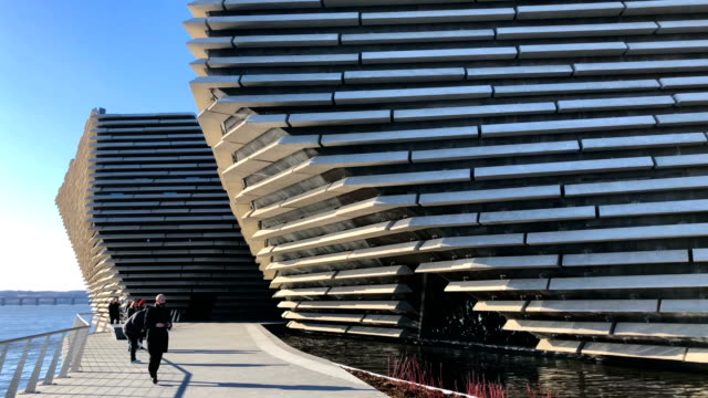 a general view of the va museum as japanese architect kengo kuma and designer of the building visits the building on february 9 2018 in dundee... - スコットランド ダンディー点の映像素材/bロール