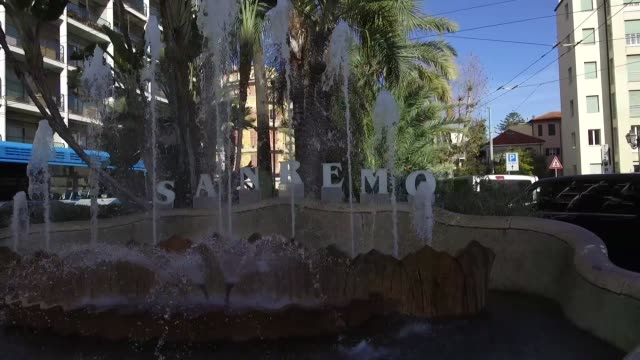 vídeos de stock e filmes b-roll de a general view of the welcome fountain on february 8 2019 in sanremo italy - vista geral