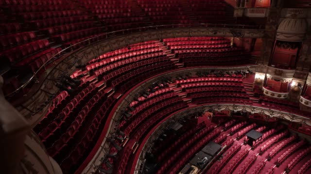 general view of theatre seating inside the london coliseum on june 11, 2020 in london, england. the london coliseum, the largest theatre in london's... - ウェストエンド点の映像素材/bロール