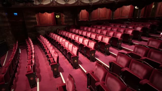 general view of theatre seating inside the london coliseum on june 11, 2020 in london, england. the london coliseum, the largest theatre in london's... - arts culture and entertainment stock videos & royalty-free footage
