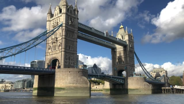 general view of tower bridge and the river thames on october 22, 2020 in london, england. - tower bridge stock videos & royalty-free footage
