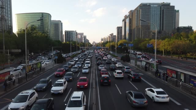 general view of traffic jams monday rush hour on april 20, 2020 in beijing, china. - beijing stock videos & royalty-free footage
