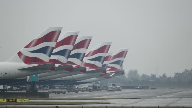 general view of vertical stabilizers at heathrow airport on october 25 2016 in london england no - tail fin stock videos & royalty-free footage