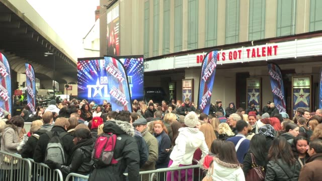 general view outside the hammersmith apollo as the london leg of auditions for 'britain's got talent' starts general view britain's got talent at the... - britain's got talent stock-videos und b-roll-filmmaterial