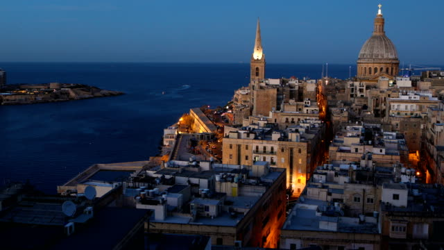 stockvideo's en b-roll-footage met a general view over the harbor and old town on march 09 2018 in valletta malta valletta malta's capital has been declared the 2018 european capital... - valletta