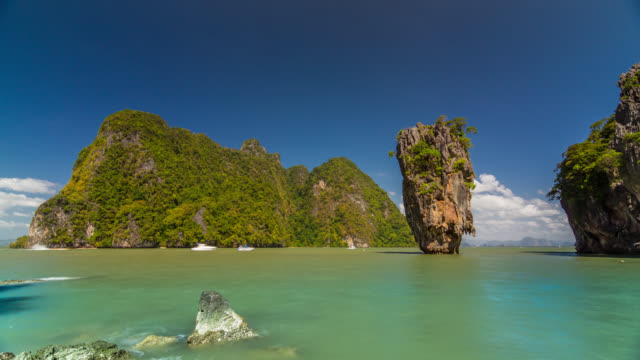 general view timelapse of the rock at the island, thailand. january, 2016. - phang nga bay stock videos and b-roll footage