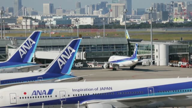 general views all nippon airways co aircraft stand parked at haneda airport in tokyo japan on sunday oct 27 a boeing co 787 dreamliner aircraft... - boeing 787 stock videos and b-roll footage