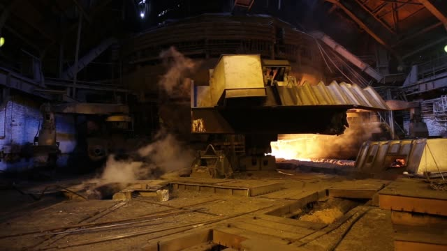 general views blast furnace, sparks flying, at the zaporizhstal steel plant, owned and operated by metinvest bv, at their site in zaporizhzhya,... - steel stock videos & royalty-free footage