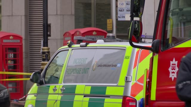 general views charing cross gas leak england london charing cross ext york place / various of police and firefighters outside charing cross station /... - charing cross stock videos and b-roll footage
