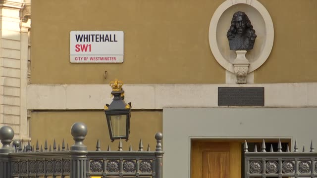 general views city of westminster street signs england london westminster ext parliament street and whitehall street sign / downing street and... - charing cross stock videos and b-roll footage