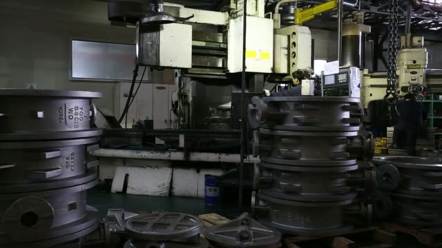 general views employees labor on the production line manufacturing valves at the samjin precision co factory inside the daejeon industrial complex in... - machine valve stock videos & royalty-free footage
