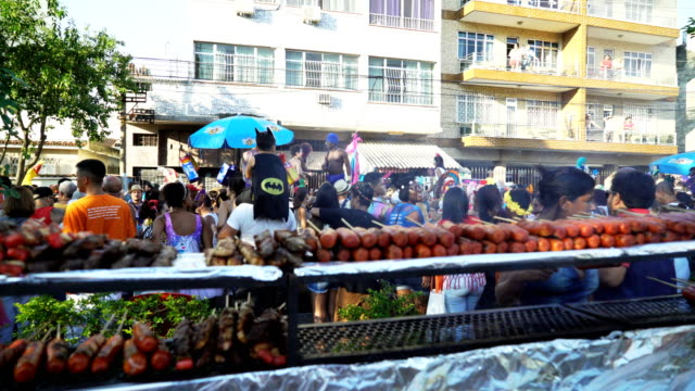 general views from a street party in rio de janeiro ( - metal grate stock videos & royalty-free footage