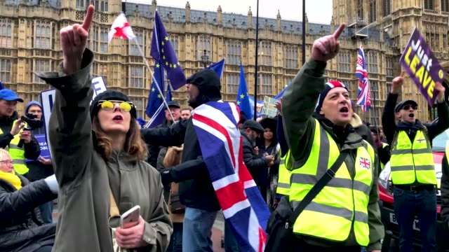 general views from pro-eu and pro-brexit protest. the vote and ongoing political processes as they demonstrate near to the houses of parliament on... - brexit stock videos & royalty-free footage