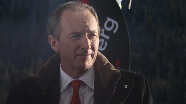 General views James Gorman chief executive officer of Morgan Stanley on set during a Bloomberg Television interview on the opening day of the World...