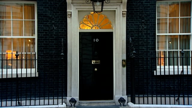 General views of 10 Downing Street as dusk falls ENGLAND London Downing Street General view of 10 Downing Street in late afternoon dusk / GVs of...