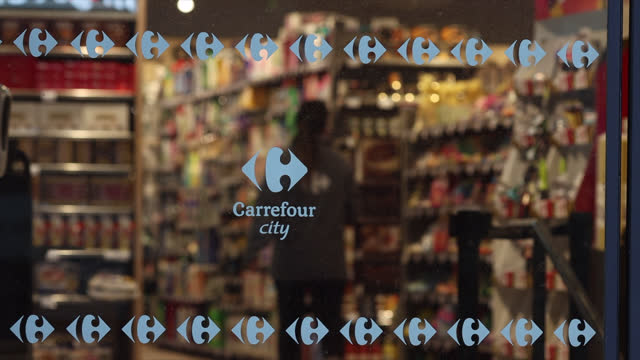 general views of a carrefour city supermarket on january 14, 2021 in paris, france. canadian convenience store operator couche-tard said january 13,... - focus on foreground stock videos & royalty-free footage