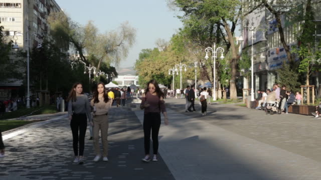 general views of almaty kazakhstan on saturday april 28 2018 - pedestrian zone stock videos & royalty-free footage