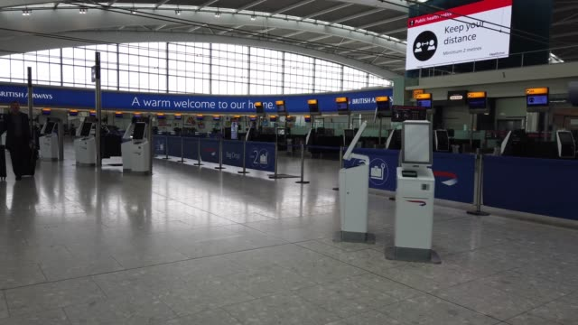 general views of an empty terminal 5 at heathrow airport on march 19, 2020 in london, england. several uk and european carriers are reducing staff... - airport stock videos & royalty-free footage