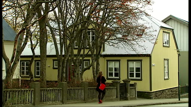 stockvideo's en b-roll-footage met general views of baugur group headquarters iceland reykjavik ext external general views of baugur group hq windows seen beyond bare branches of tree... - bare tree