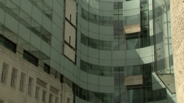 General views of BBC New Broadcasting House ENGLAND London New Broadcasting House EXT Various of New Broadcasting House including entrance and windows