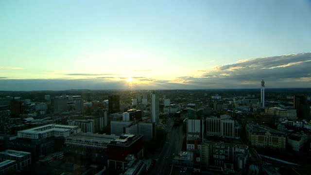 high angle views of Birmingham city centre ENGLAND Birmingham Good high angle views of Birmingham City Centre sun shining through layer of cloud /...